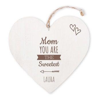 Día de la Madre - corazón de madera