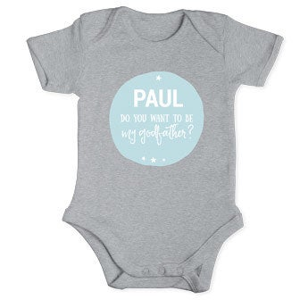 Will you be my godfather romper - Grey 50/56