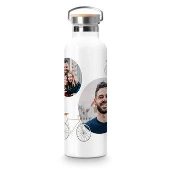 Botella con foto - Tapa de bambú