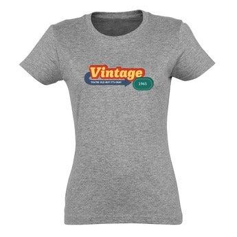 T-shirt - Femme - Gris chiné - L
