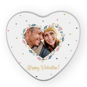 Caja metalizada de regalo - San Valentín