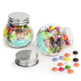 Sjokolader i glasskrukke - sett med 80