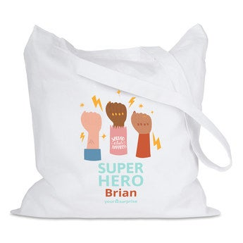 Tote bag Super-héros - blanc