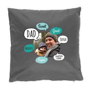 Otec Deň vankúš - tmavo šedá