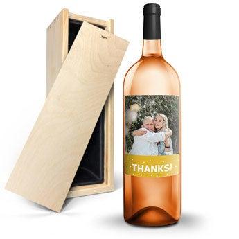 Víno Rosé - AIX - štítek s fotografií