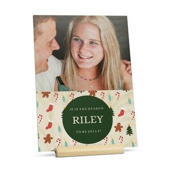 Puinen joulukortti kuvalla