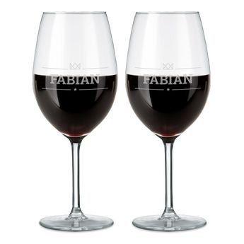 Copas de vino tinto grabadas - Set de 2