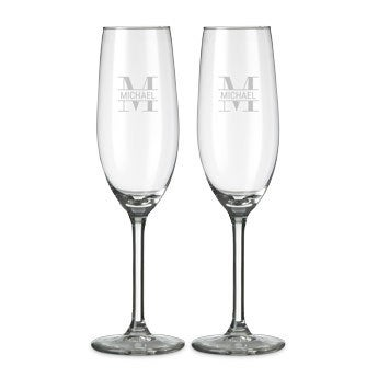 Champagneglas med gravering (sæt af 2)