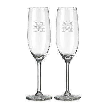 Champagneglas med gravyr - 2 stycken