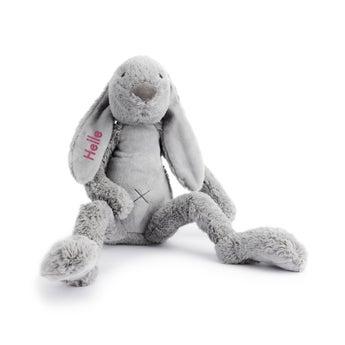 Stor Rabbit Richie med navn - Grå