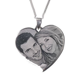 Silver-coloured photo pendant - heart