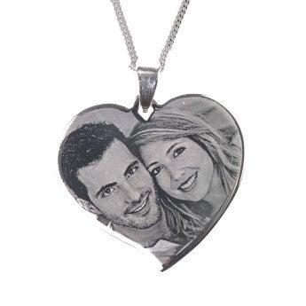 Silver-coloured photo pendant - heart