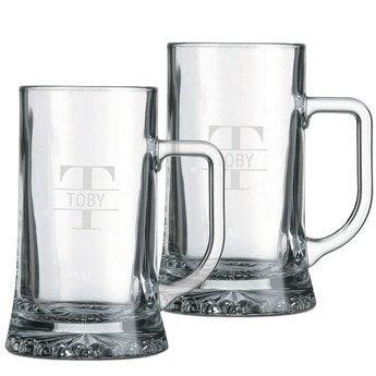 Glass beer mug - set of 2