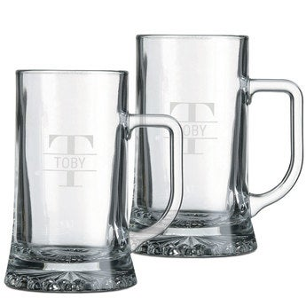 Ølkrus med Gravering i Glas – sæt med 2 stk.