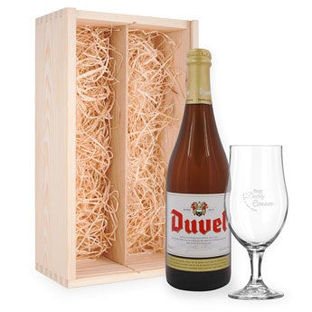 Fars dag øl gave set med indgraveret glas - Duvel