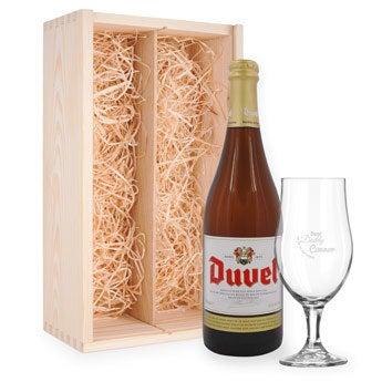 Fars dag öl gåva med graverat glas - Duvel