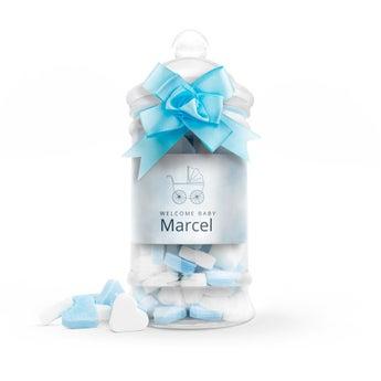 Hjerteformet godteri i tåteflaske (blå) - sett med 10