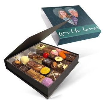 Chocolates em caixa de presente de luxo - 25 chocolates