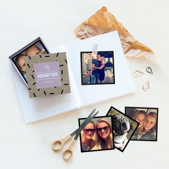 Fotos med print i gaveæske - Firkantet