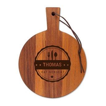 Servierbrett Holz mit Gravur - Teak