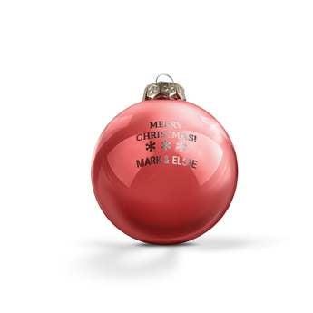 Lasinen joulupallo nimellä - punainen (2 kpl)