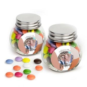 Frasco de vidro com chocolates - Mini