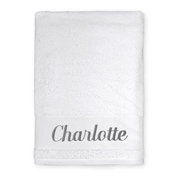 Broderet badehåndklæde