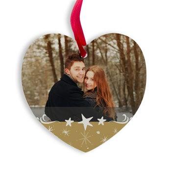 Vianočný vešiak hliník - srdce
