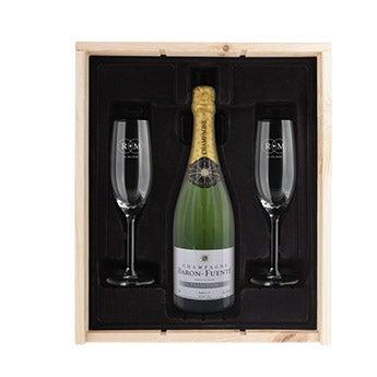 Zestawy szampana z grawerowanymi kieliszkami
