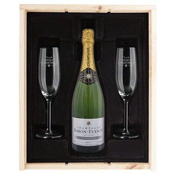 Champagnepaket med graverade glas