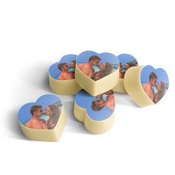 Personalised photo chocolates - Heart-shaped