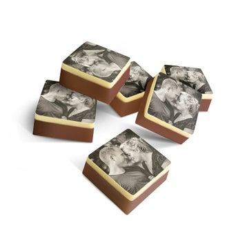 Massiv sjokolade - Firkant - sett med 15 stk.