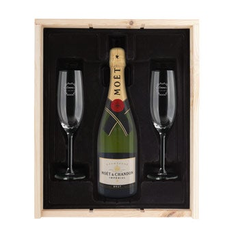 Coffret champagne avec flûtes