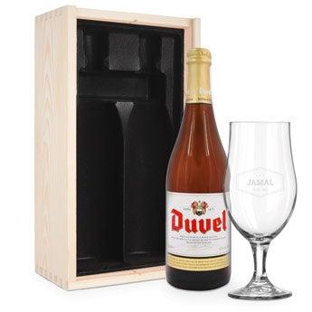 Øl gave sæt med glas - Graveret