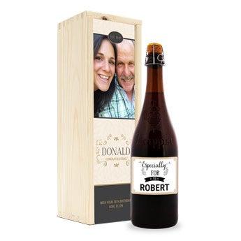 Conjunto de oferta de cerveja com vidro gravado - La Trappe Isid'or