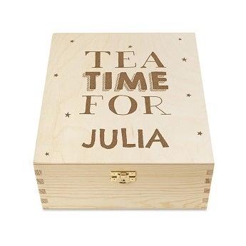 Teebox Holz mit graviertem Deckel