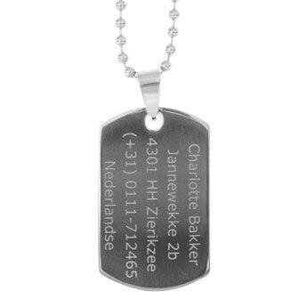 Plaque militaire - Dog tag - argent