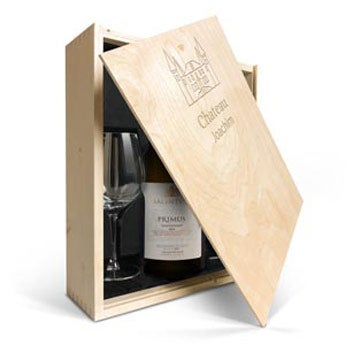Salentein Primus Chardonnay mit Gläser mit Gravur