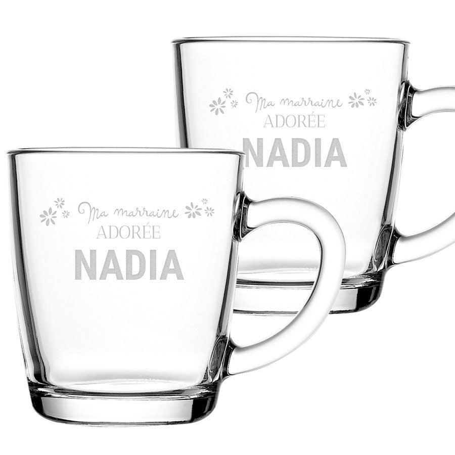 Tasses à thé marraine avec prénom - 2 pièces