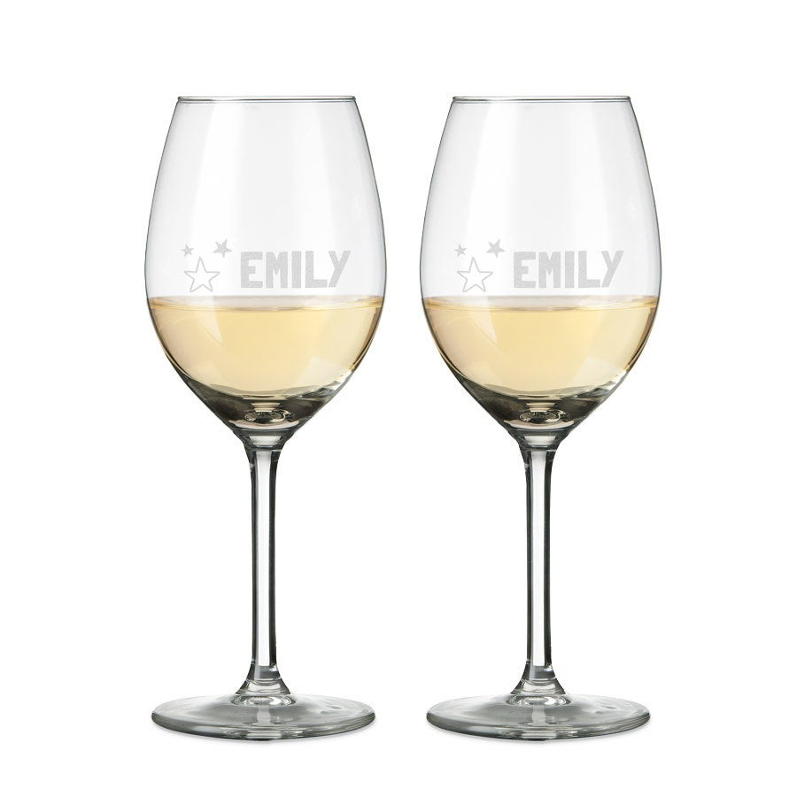 Copas de vino blanco grabadas - Set de 2