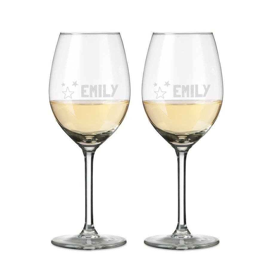 Kieliszki do wina białego - grawerowane - 2 sztuki