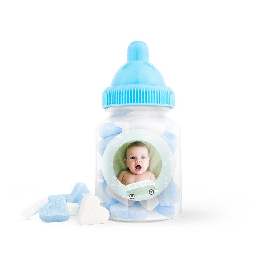 Suikerhartjes in babyflesje (blauw) - 100 stuks