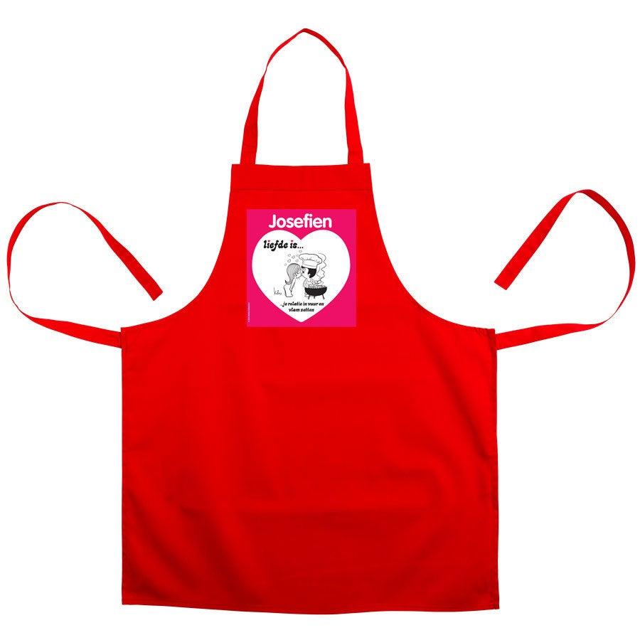 Liefde is... keukenschort bedrukken - Rood