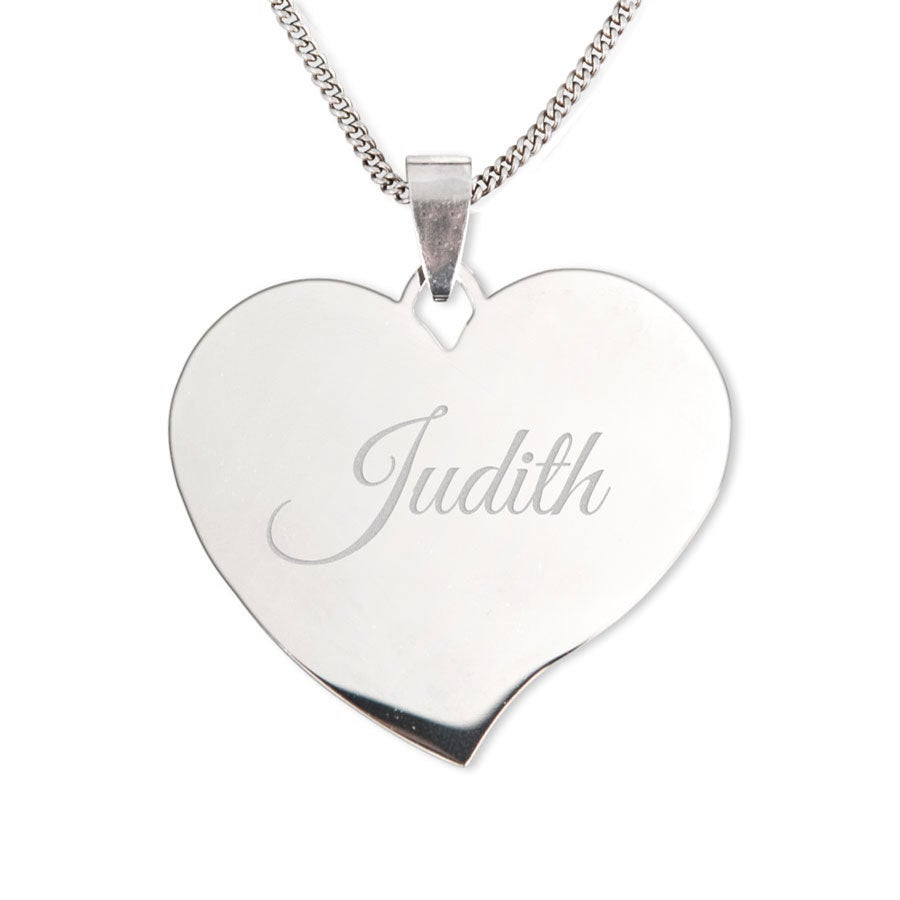 Silver name pendant - Heart