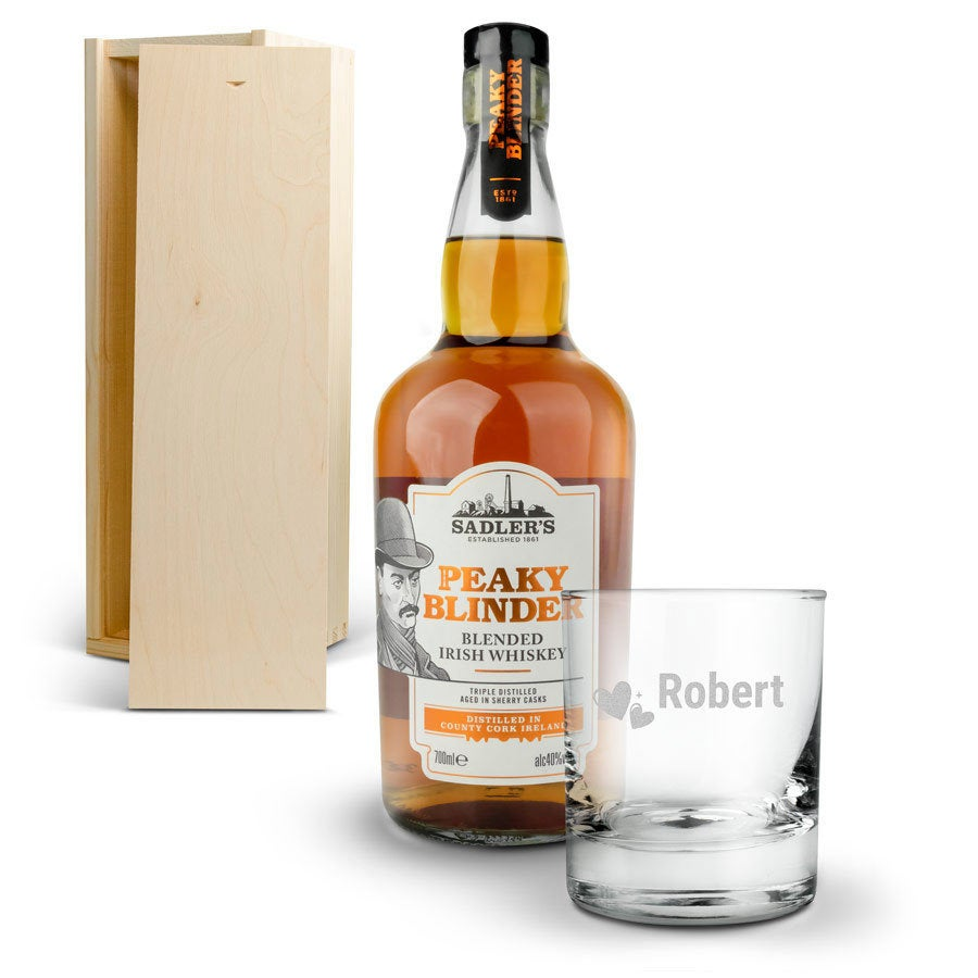 Peaky Blinders whiskey set with engraved glass