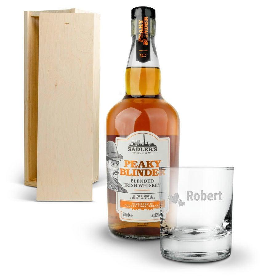 Peaky Blinders whisky készlet gravírozott üveggel