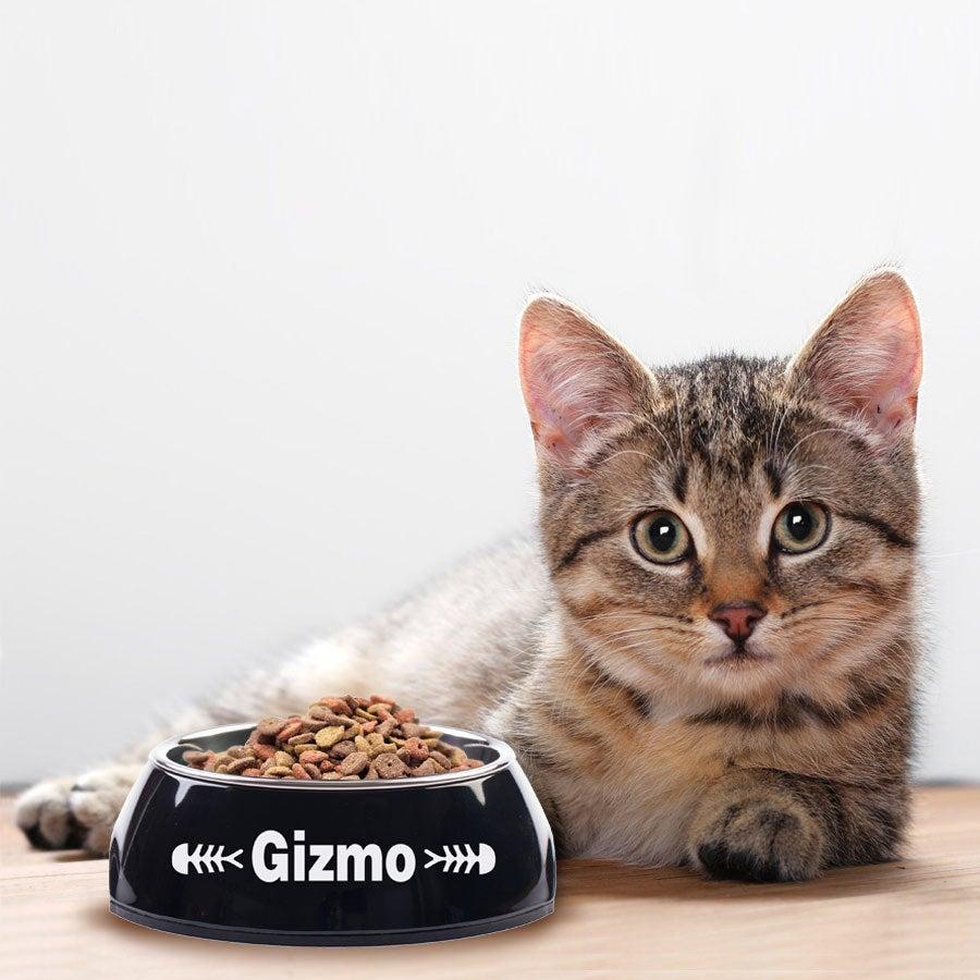 Kattenvoerbak met naam - Zwart - 160 ml