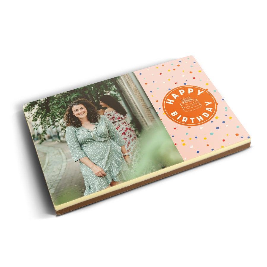 Čokoládová pohľadnica s fotkou