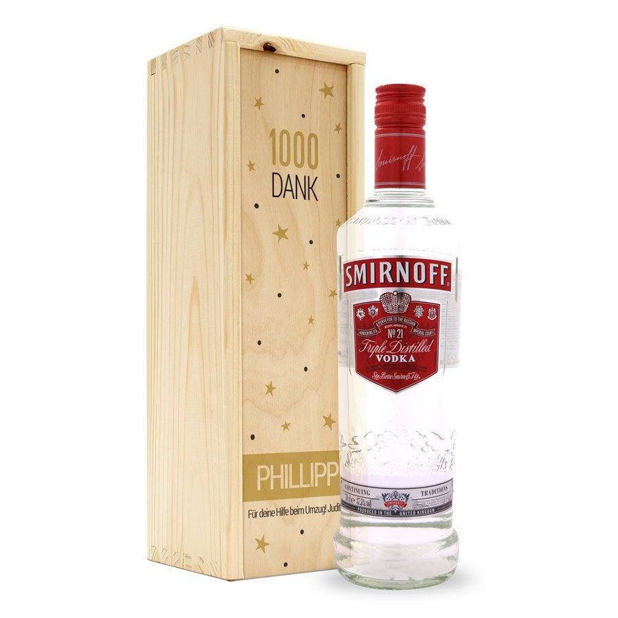 Vodka Smirnoff - Holzkiste mit Druck