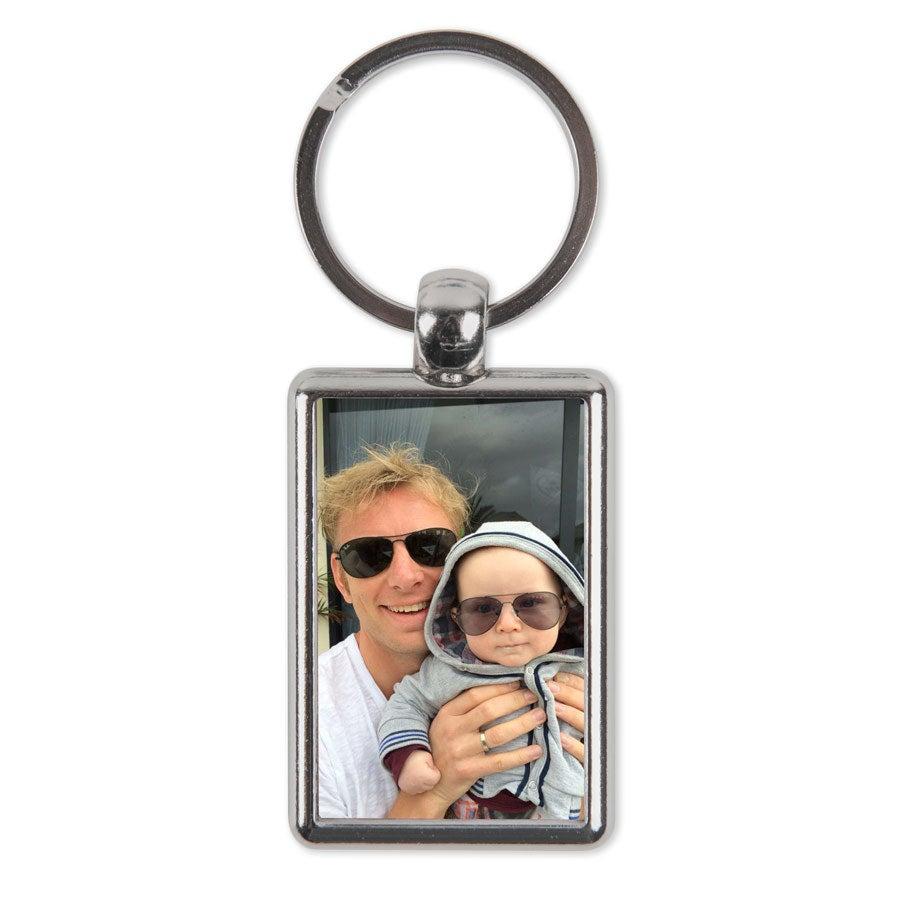 Dubbelsidig foto nyckelring - Rektangulär